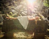Princesa del cuento de hadas de la bella durmiente Foto de archivo libre de regalías