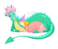 Princesa e dragão ilustração royalty free
