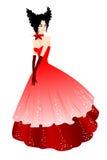 Princesa en alineada roja Foto de archivo libre de regalías