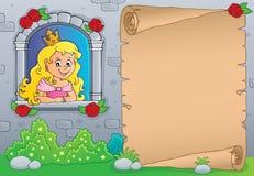 Princesa en el pergamino 1 del tema de la ventana ilustración del vector