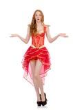 Princesa en el vestido rojo aislado en blanco Fotos de archivo libres de regalías