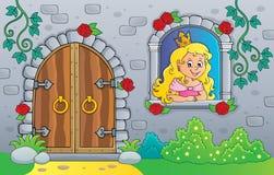 Princesa en ventana y puerta vieja stock de ilustración