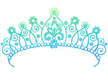 Princesa esboçado Tiara Coroa Caderno Doodles Fotos de Stock Royalty Free