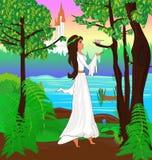 A princesa escuta o pássaro que canta na floresta Foto de Stock