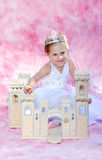 Princesa feliz da criança com seu castelo Fotos de Stock Royalty Free