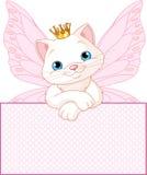 Princesa Gato sobre um sinal em branco Fotos de Stock Royalty Free