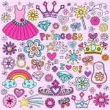 Princesa Groovy Caderno Doodles Foto de Stock