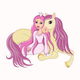 Princesa hermosa y su caballo fiel precioso Imagen de archivo libre de regalías