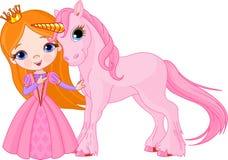 Princesa hermosa y unicornio Imagen de archivo