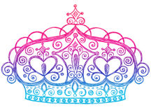 Princesa incompleta Tiara Crown Notebook Doodles stock de ilustración