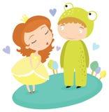 Princesa Kissing Frog Prince del cuento de hadas Foto de archivo libre de regalías
