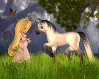 Princesa linda y unicornio del cuento de hadas de Toon Fotos de archivo