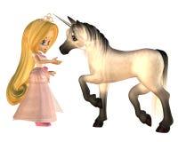Princesa linda y unicornio del cuento de hadas de Toon Imagenes de archivo