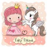 Princesa linda y unicornio del cuento de hadas de la historieta stock de ilustración