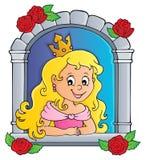 Princesa na imagem 1 do tema da janela ilustração do vetor
