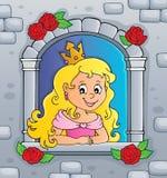 Princesa na imagem 2 do tema da janela ilustração royalty free