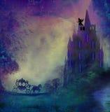 Princesa no príncipe de espera da torre Imagem de Stock