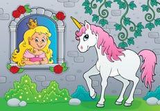 Princesa no tema 2 da janela e do unicórnio ilustração do vetor