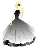 Princesa no vestido cinzento com vidro Imagens de Stock Royalty Free