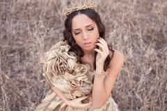 Princesa no vestido do ouro Imagens de Stock Royalty Free