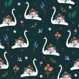 Princesa ou rainha branca bonita da cisne com coroa, teste padr?o sem emenda rom?ntico e elementos da decora??o do ramalhete flor ilustração stock