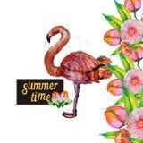 Princesa pequena bonito Abstract Background com ilustração cor-de-rosa do flamingo Fotos de Stock Royalty Free