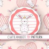 Princesa pequena bonito - desenhos animados do coelho ilustração do vetor
