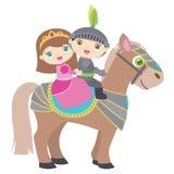 Princesa pequena bonito e cavaleiro Riding uma ilustração lisa do vetor do cavalo isolada no branco imagem de stock