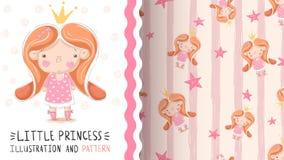 Princesa pequena bonito - teste padrão sem emenda ilustração do vetor