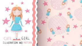 Princesa pequena bonito - teste padr?o sem emenda ilustração royalty free