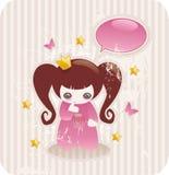 Princesa pequena dos desenhos animados ilustração royalty free