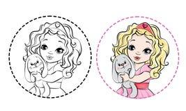 Princesa pequena esboçada para o livro para colorir ilustração stock