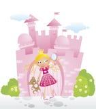 Princesa pequena na frente de seu castelo Imagem de Stock Royalty Free