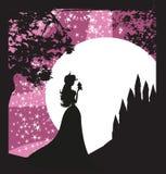Princesa que beija uma rã grande ilustração royalty free