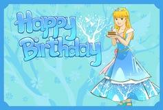 Princesa que lleva a cabo un pedazo de torta de cumpleaños Fotos de archivo libres de regalías