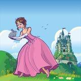 Princesa que sostiene el conejo con la historieta del vector del castillo Imagen de archivo libre de regalías