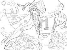 Princesa Rapunzel na coloração de pedra da torre para a ilustração do vetor dos desenhos animados das crianças Fotos de Stock Royalty Free