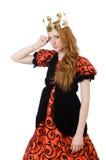 Princesa roja del pelo en el vestido anaranjado aislado encendido Fotografía de archivo