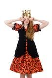 Princesa roja del pelo en el vestido anaranjado aislado encendido Imágenes de archivo libres de regalías