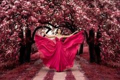 Princesa rosada maléfica, mujer atractiva con el vestido hermoso Foto de archivo