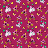 Princesa Seamless Background com castelo, treinador e borboleta da menina ilustração stock