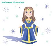 Princesa Veronica com estrelas e sombra ilustração royalty free