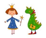 Princesa y dragón. Personajes de dibujos animados Fotografía de archivo libre de regalías