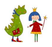 Princesa y dragón. Personajes de dibujos animados Fotografía de archivo