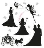 Princesas e fadas - grupo ilustração stock
