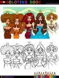 Princesas o reinas de la fantasía para el colorante Fotos de archivo libres de regalías