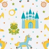 Princess żaby bezszwowy wzór Zdjęcie Stock
