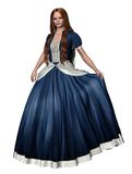 Princess 1. 3D render of a girl in a blue princess dress Stock Image
