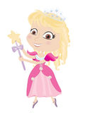 Princess. Vector illustration of an adorable princess with tiara and magic wand Stock Images