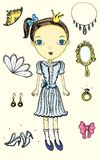 Princess. Little princess and her jewelry. Hand drawn illustration. EPS. Full editable Royalty Free Stock Photography